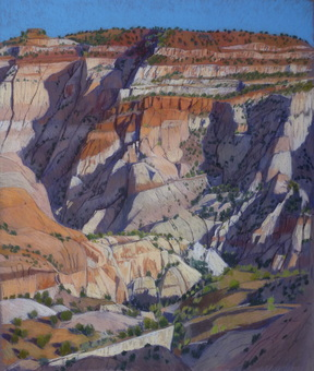 Escalante, GSENM,Boulder, slickrock, pastel, plein air, Scotty Mitchell
