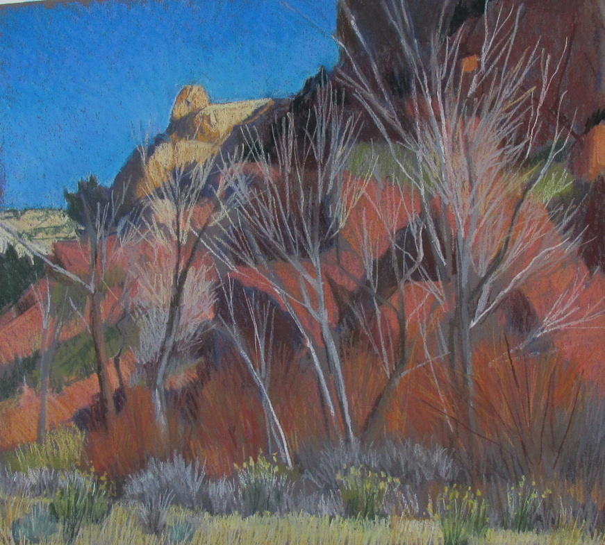 Calf Creek, Southwestern landscape, pastel, GSENM, Scotty Mitchell