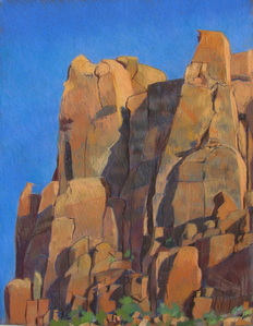 Long Canyon, Boulder Utah, Red Rock, Scotty Mitchell, plein air, pastel, landscape